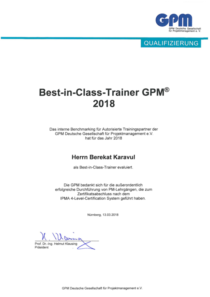 IPMA Level D / C / B Best-in-Class Trainer